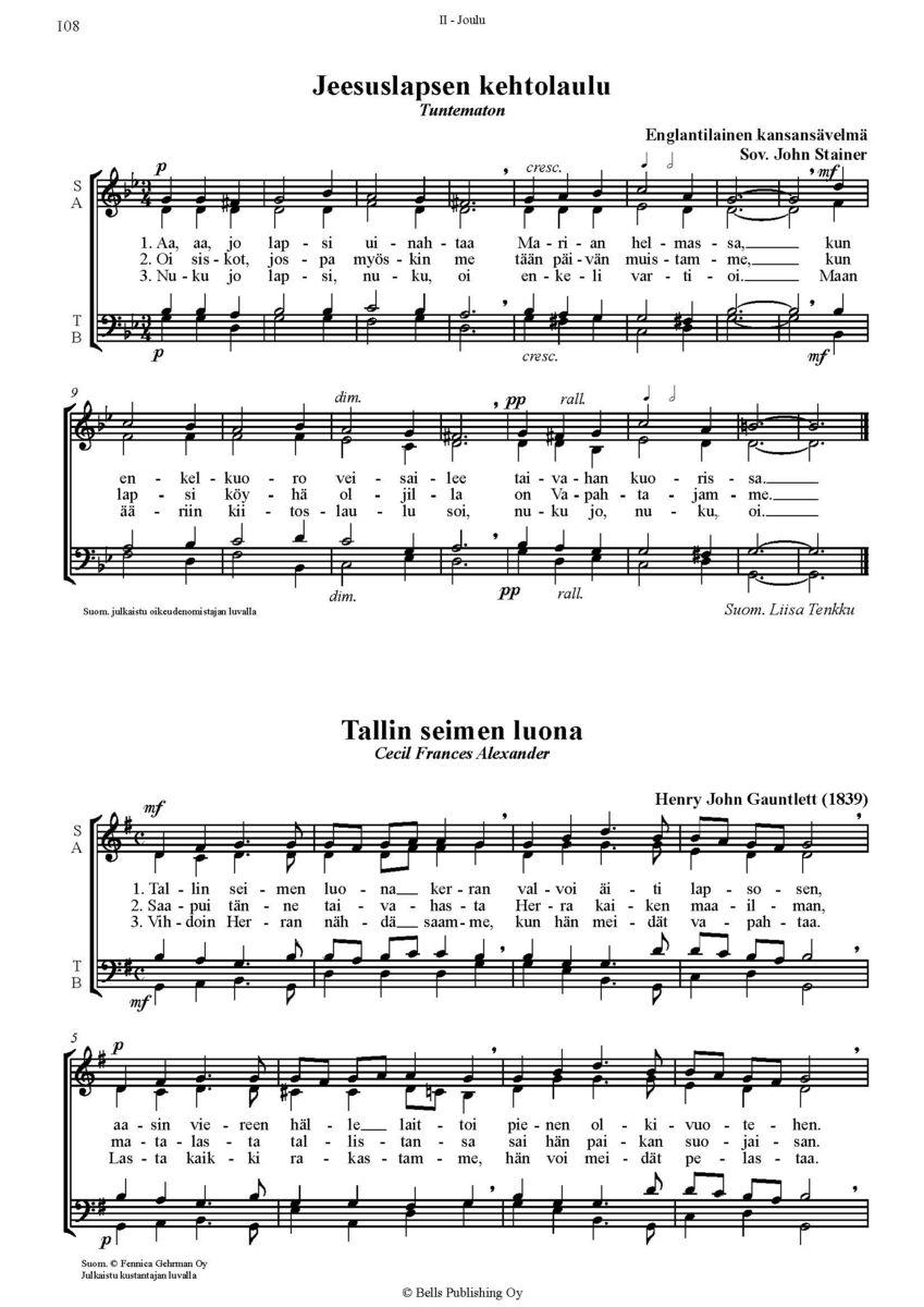 joululauluja Chorus Ecclesiae 3   Hartaita joululauluja sekakuorolle a cappella  joululauluja