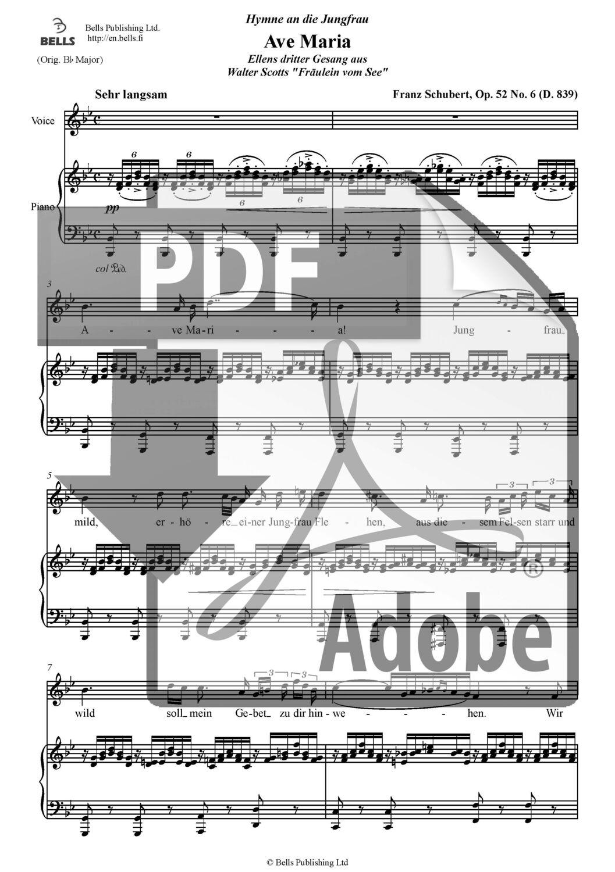Franz Schubert: Ave Maria, D. 839 (pdf) (Lied) | Bells webstore